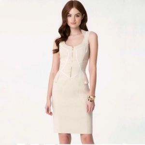 Bebe Natural Lexia Linen Midi Dress Halter